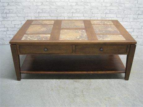 4 DRAWER COFFEE TABLE WITH SLATE/TILE TOP