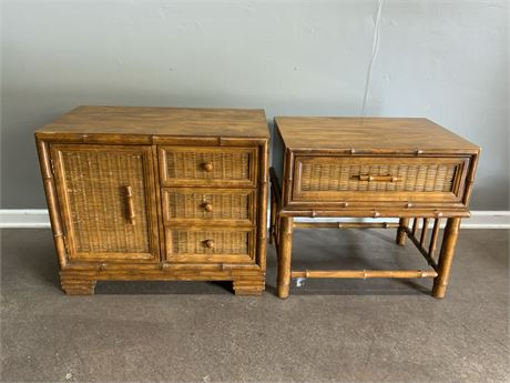 Wicker Cabinet and Side Table