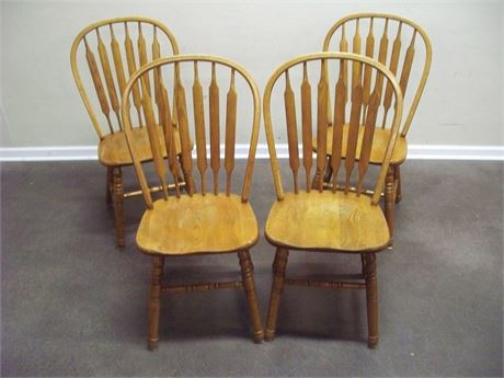 4 OAK ARROW BACK DINETTE CHAIRS