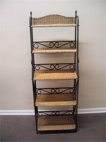 WROUGHT IRON AND WICKER BAKER'S RACK