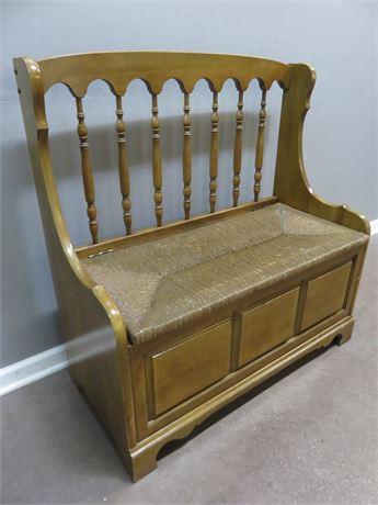 Rush Seat Storage Bench