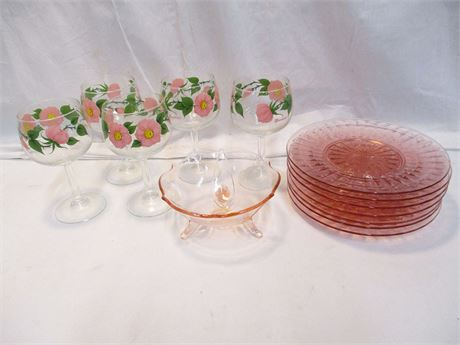 LOT OF SPRING-THEMED GLASSWARE FEATURING FRANCISCAN