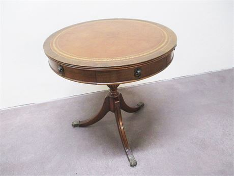 VINTAGE MAHOGANY DRUM TABLE WITH LEATHER INLAY TOP