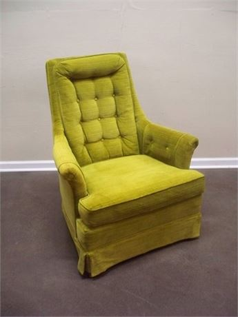 VINTAGE GREEN VELVET UPHOLSTERED SIDE/OCCASIONAL CHAIR