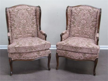 2 VINTAGE WOOD TRIMMED UPHOLSTERED FIRESIDE CHAIRS