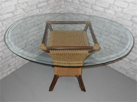 OVAL BEVELED GLASS TOP RATTAN TABLE