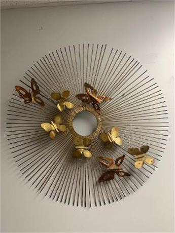 Large Gold Wall Decor  Round Butterfly Sunburst
