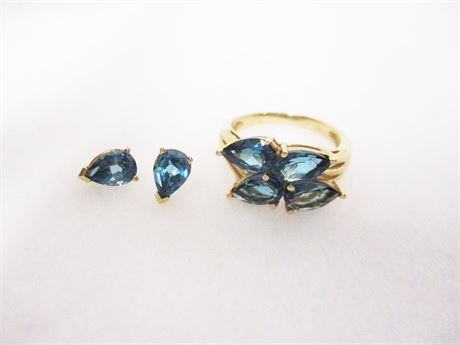 10K GOLD SIZE 8 RING WITH COORDINATING PIERCED EARRINGS