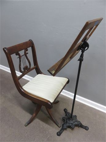 Vintage Music Stand with Chair
