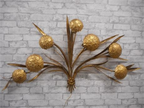 VINTAGE MID CENTURY GOLD HYDRANGEA WALL ART/LIGHT
