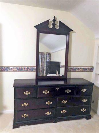 Basset Cherry Mirrored Dresser