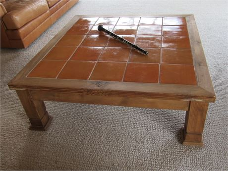 Nice large Rustic Wood Coffee Table with Tile Top