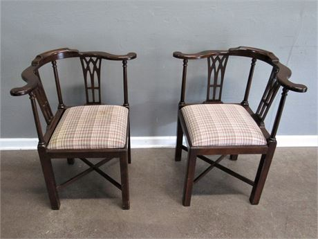 Matching George II Style Wood Curved Back Corner Chairs with Upholstered Seats