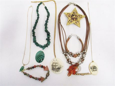 LOT OF COSTUME JEWELRY - SOME MARKED 14K