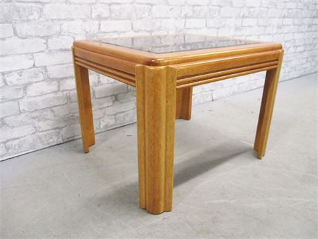 GLASS INSET SIDE TABLE