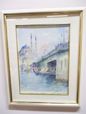 ISTANBUL CANAL SCENE WATERCOLOR - SIGNED BY THE ARTIST