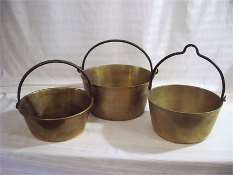 3 ANTIQUE BRASS POTS WITH WROUGHT IRON HANDLES