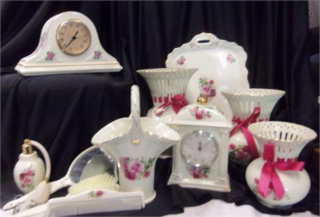 Porcelain Set Mirror Clock Baum Brothers Formalities Lot