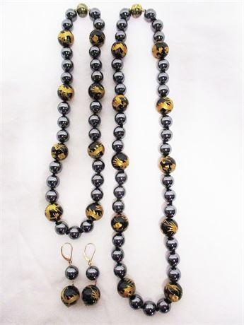 STUNNING HEMATITE AND 14K GOLD NECKLACES AND EARRINGS