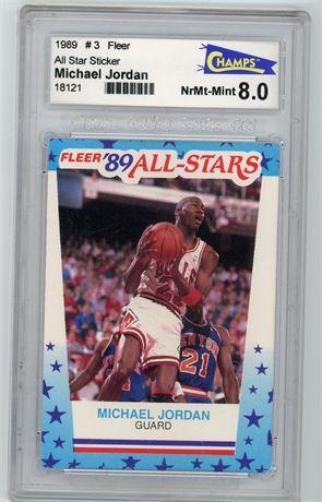 1989 Fleer All Star Sticker Michael Jordan Champs 8.0