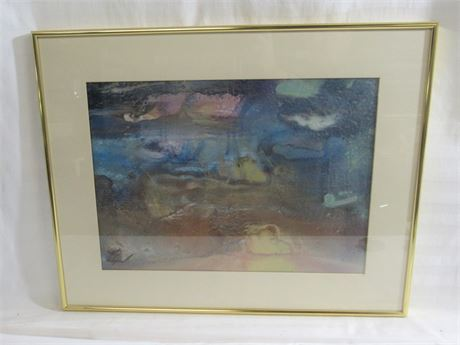 FRAMED MATTED AND SIGNED ABSTRACT ARTWORK