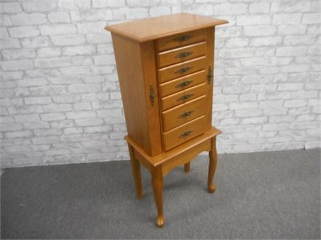 OAK STANDING JEWELRY ARMOIRE