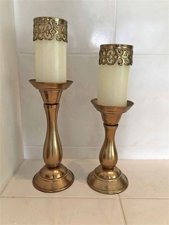 Gold Pillar Candle Holders