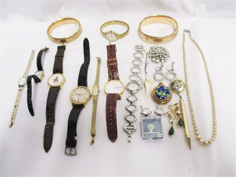 LOT OF VINTAGE COSTUME JEWELRY AND WATCHES FEATURING BENRUS