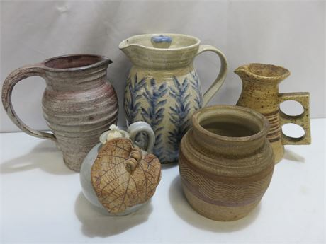 5-Piece Artisan Pottery Lot