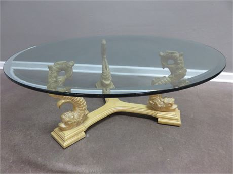 Sculptural Dolphin Base Glass Top Table