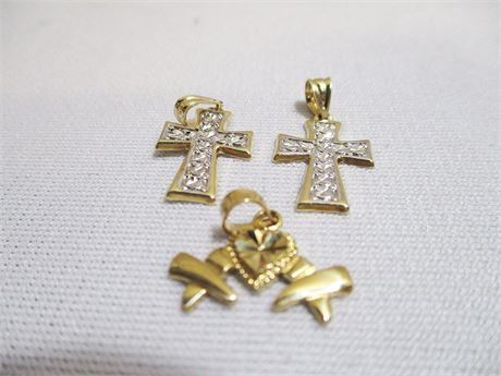 3 14-KT GOLD CHARMS