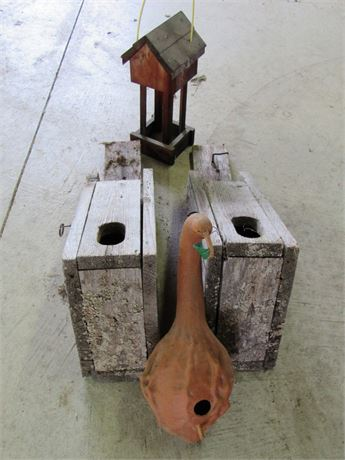4 Piece lot - 3 Birdhouses and Platform Feeder