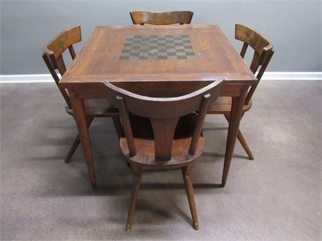 Vintage Flip-Top Game/Dining Table with 4 Stencil-Back Chairs