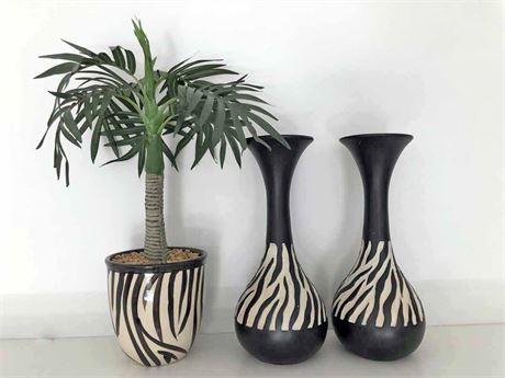 Zebra Print Vases & Arrangement