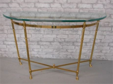 BRASS AND BEVELED GLASS DEMILUNE