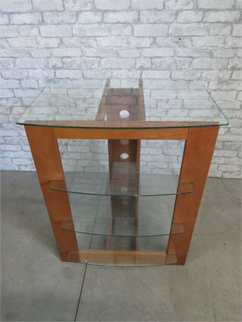 4-Tier Glass and Wood Audio/Video Component Rack