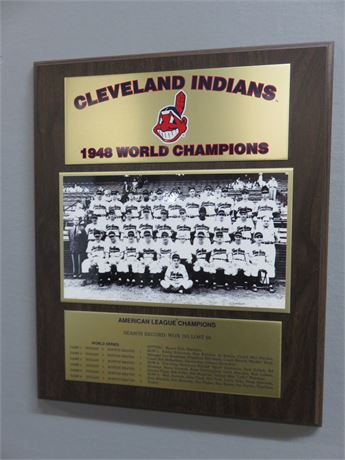 CLEVELAND INDIANS 1948 World Champions Wall Plaque