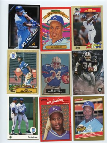 BO JACKSON LOT WITH ROOKIE 9 CARDS