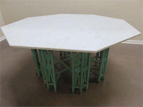 Octagonal Marble Top Wrought Iron Table