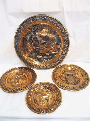 LOT OF 4 VINTAGE COPPERCRAFT GUILD DECORATIVE WALL TRAYS