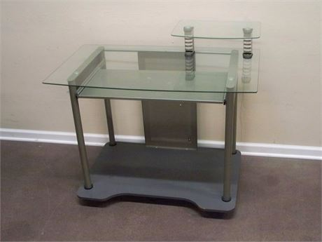 STUDIO RTA GLASS TOP DESK WITH KEYBOARD PULLOUT