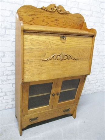 VINTAGE OAK SECRETARY BY W & H WALKER - PITTSBURGH