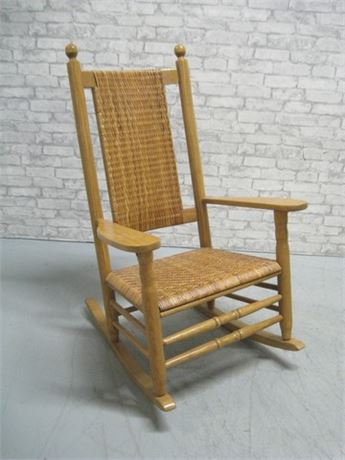 ROCKING CHAIR WITH WICKER SEAT AND BACK