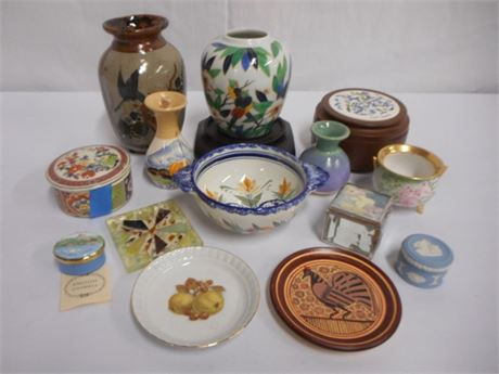 14 PIECE MISC. LOT INCLUDING WEDGEWOOD, HENRIOT GUIMPER & GRUMMLES
