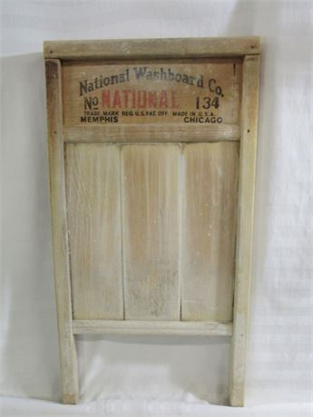 Antique National Washboard Co. Washboard No. 134