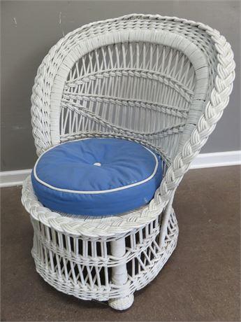 Petite White Wicker Parlor Chair