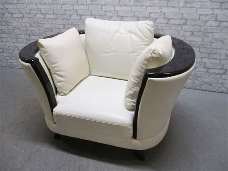 IVORY LEATHER CLUB CHAIR WITH WOOD ACCENT