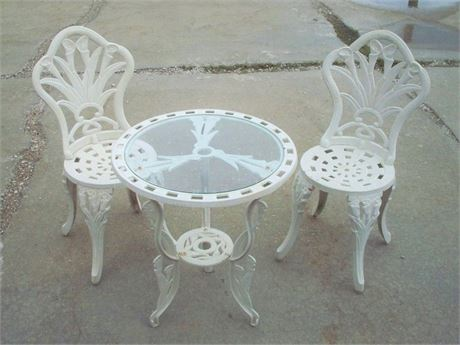 SMALL WROUGHT IRON GLASS TOP GARDEN TABLE AND 2 CHAIRS