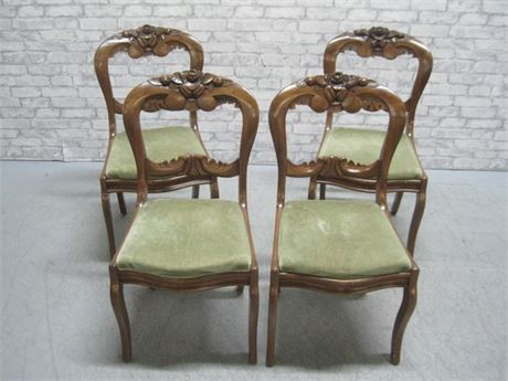 4 BEAUTIFULLY CARVED ANTIQUE DINING CHAIRS
