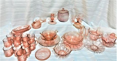 Huge Pink Glass Collection